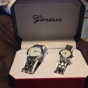 Geneva His & Her Stainless Steel  watch